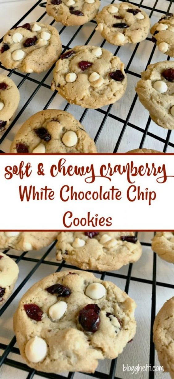 This year, for the Food Blogger Love Cookie Exchange, I choose to bake a soft and chewy cranberry white chocolate cookie. They remind me of the ones at a local bakery here and I just love them. I think the dried cranberries make the cookies look a bi festive for the season.