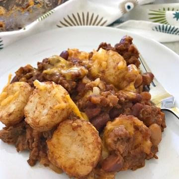 serving of Tator Tot Sloppy Joe casserole - closeup