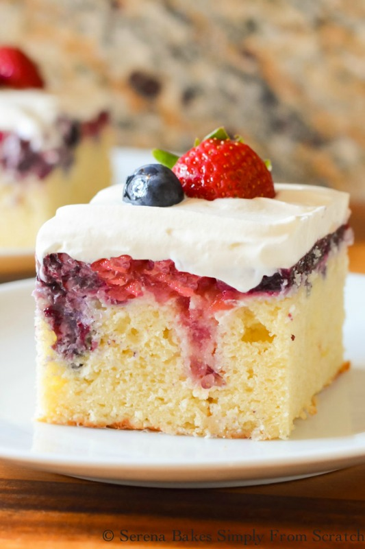 Red White Blue Patriotic Poke Cake