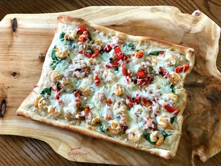 shrimp alfredo pizza - feature