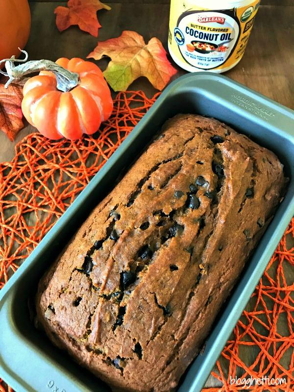 Pumpkin Chocolate Chip Bread with Barlean's