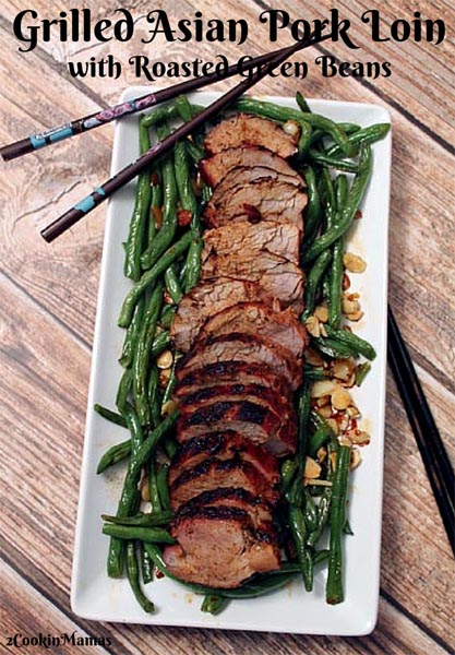Sweet Grilled Asian Pork Loin with Green Beans