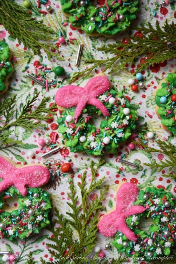 Whoville Christmas Wreath Sugar Cookies from Faith, Hope, Love and Luck