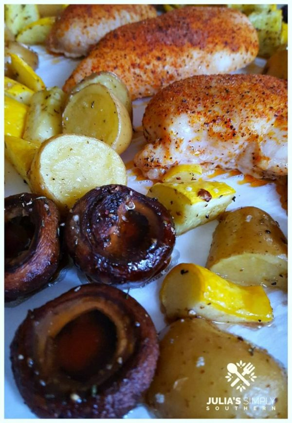 Creole Chicken Sheet Pan Dinner - Julia's Simply Southern