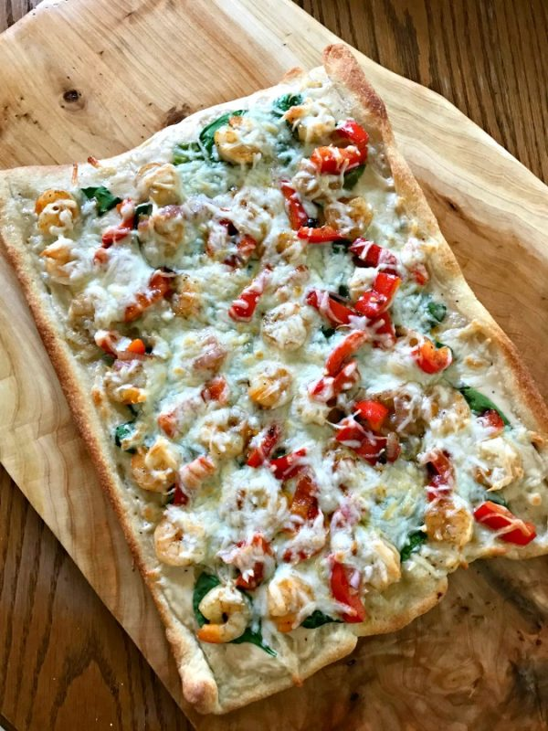 Shrimp Alfredo Pizza with Spinach