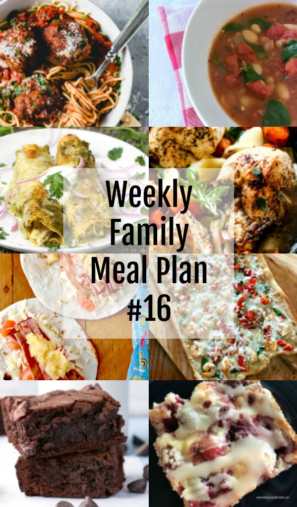 Here's this week's Weekly Family Meal Plan! My goal is to make your life just a bit easier. You'll find a variety of dinner ideas sure to please even the pickiest eater.  #weekly #menu #family #mealplan