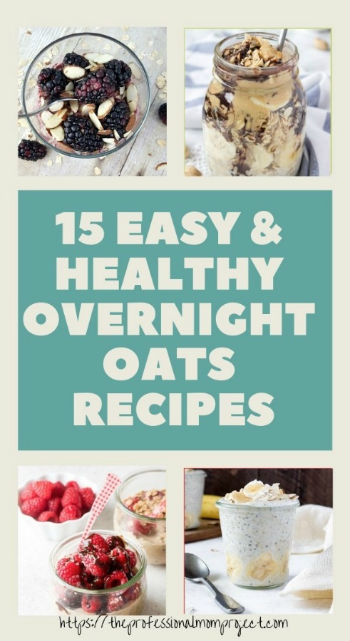 collage of overnight oat recipes