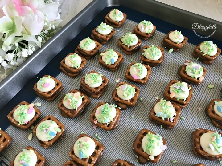 Spring Rolo Pretzel Bites on sheet pan