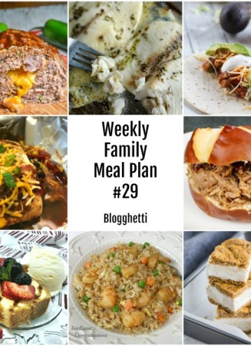collage of weekly family meal plan foods
