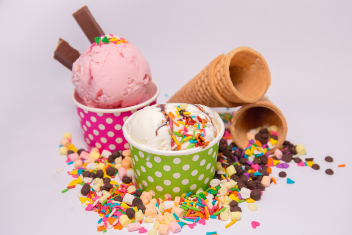Ice Cream in colorful cups