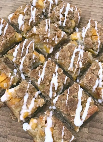 Peach Streusel Crumb Bars with glaze