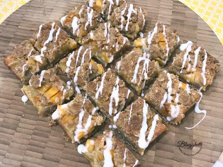 Peach Streusel Crumb Bars with glaze