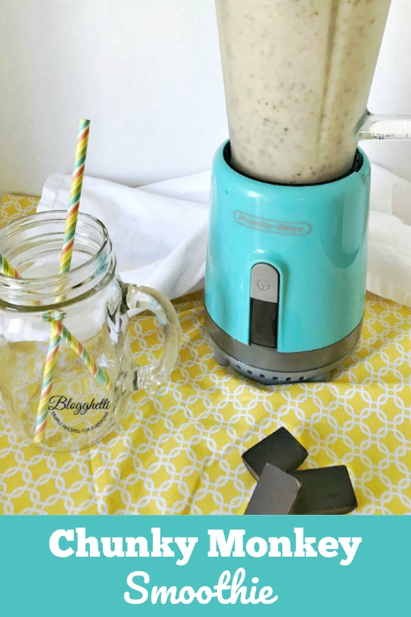Chunky Monkey Smoothie with blender - pin