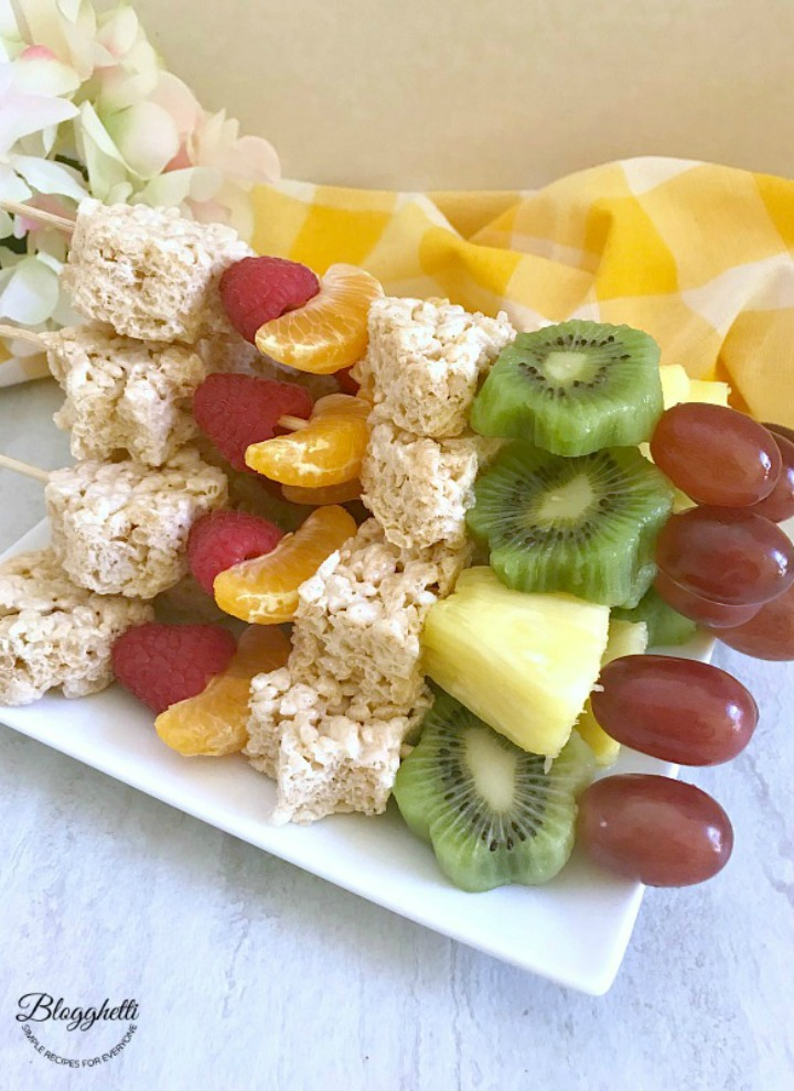 Fresh Fruit and Rice Krispies Treat Kabobs