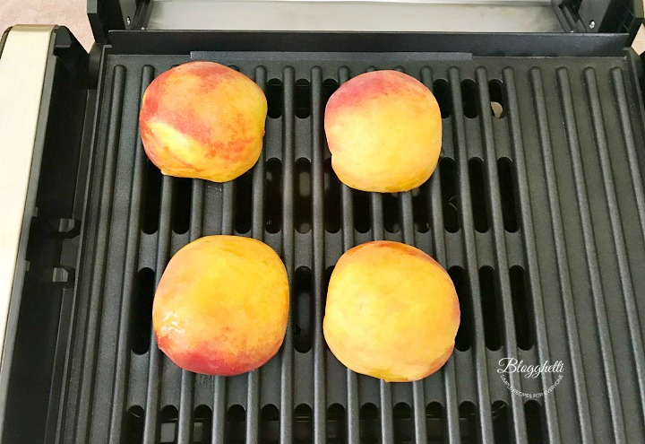 Grilling peaches on indoor grill