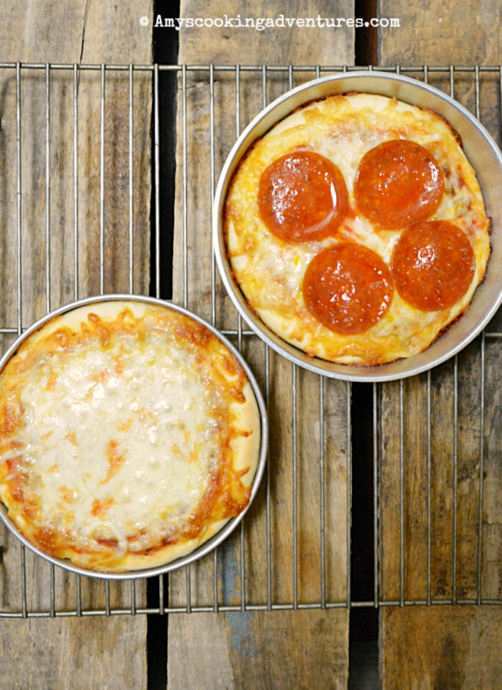 two personal pan pizzas. One with pepperoni and one cheese