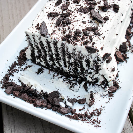 Vanilla Icebox Cake on a white platter
