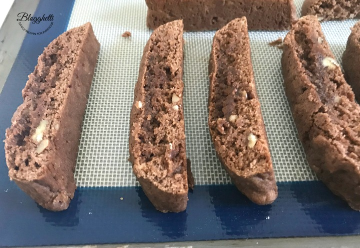 Cappuccino Biscotti with Pecans sliced and ready for 2nd bake