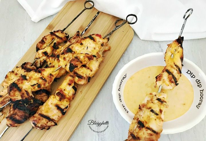 Grilled Bang Bang Chicken Kabobs with bowl of bang bang sauce