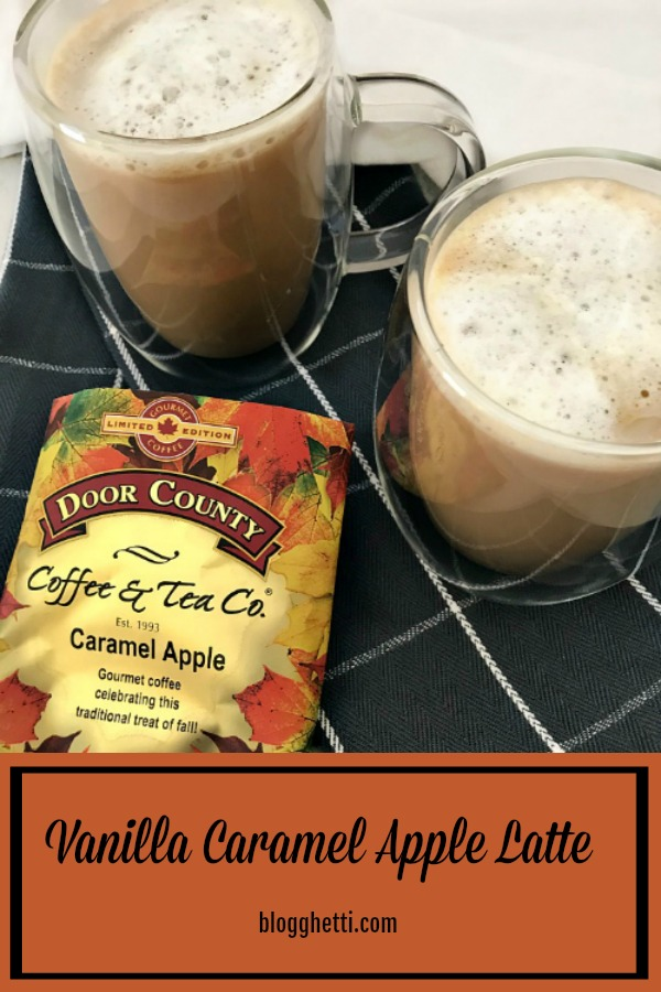 Vanilla Caramel Apple Latte in clear mugs with Door County coffee package