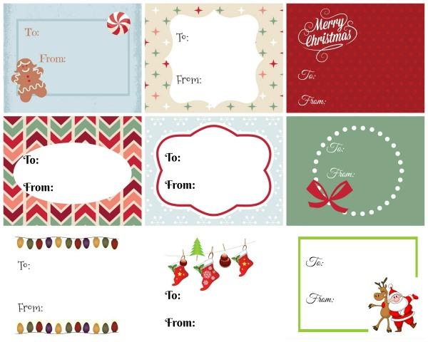 9 Christmas Gift tags to print
