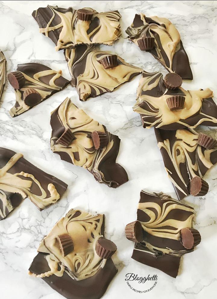 Easy Peanut Butter Chocolate Swirl Bark broken into pieces