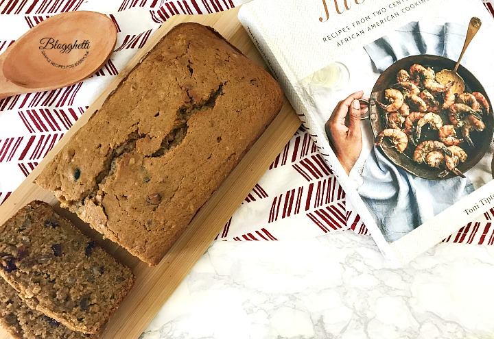 sweet potato bread sliced with cookbook Jubilee