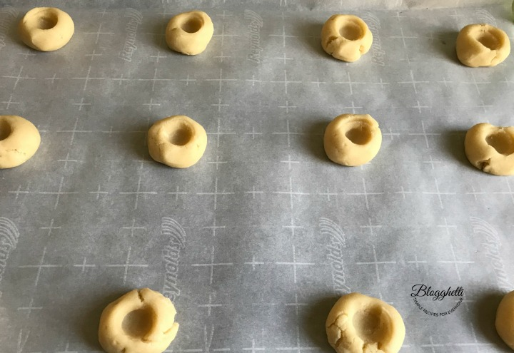 thumbprint indentation for raspberry shortbread cookies