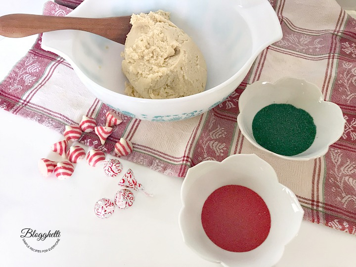 Candy cane blossoms cookie dough