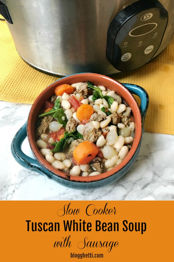 Slow Cooker Tuscan White Bean Soup with Sausage - pin