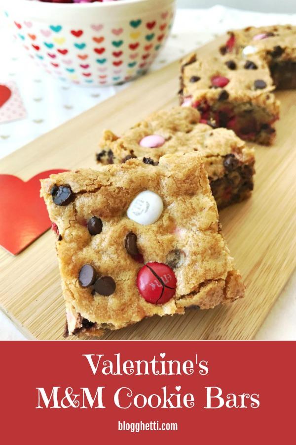 Valentine's M&M Cookie Bars - pin