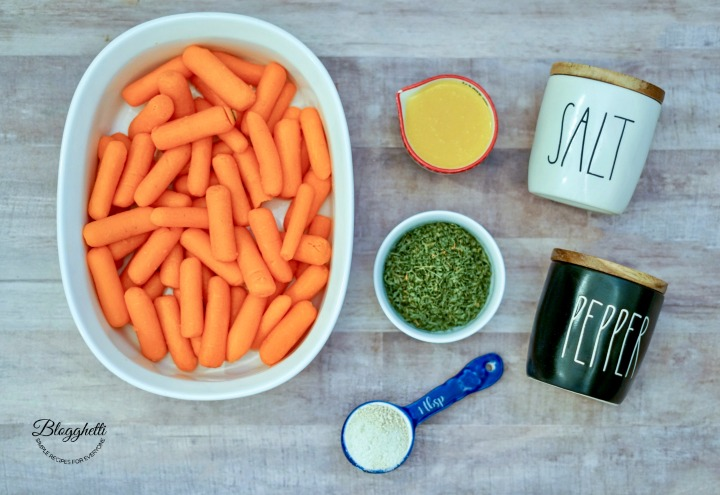 ingredients for roasted butter garlic carrots