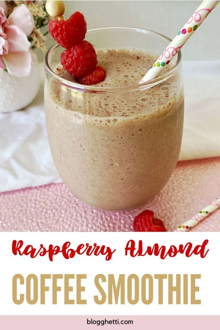Raspberry Almond Coffee Smoothie - pin