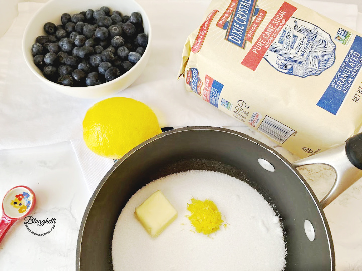 ingredients for blueberry filling for tarts