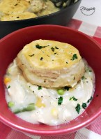 skillet chicken pot pie in a red bowl