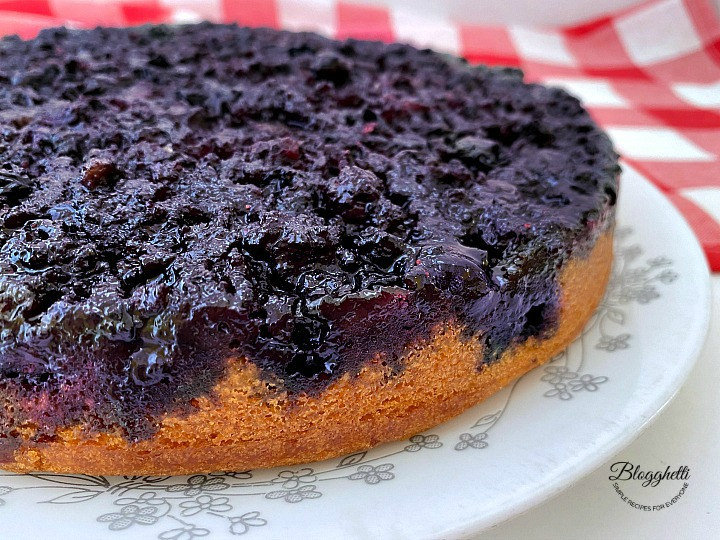 Blueberry upside down cake close up