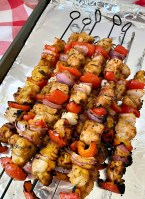 skewers with chicken and vegetables