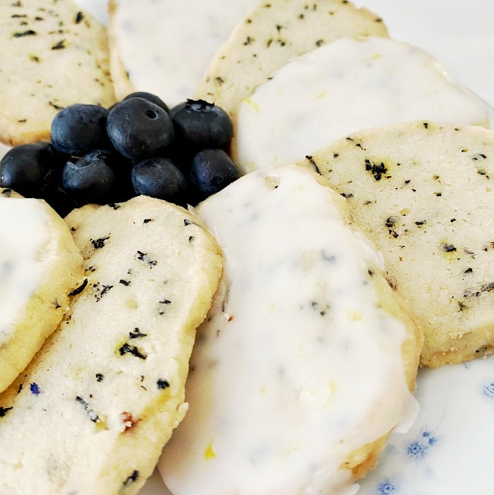 Blueberry Earl Grey Cookies with Lemon Glaze