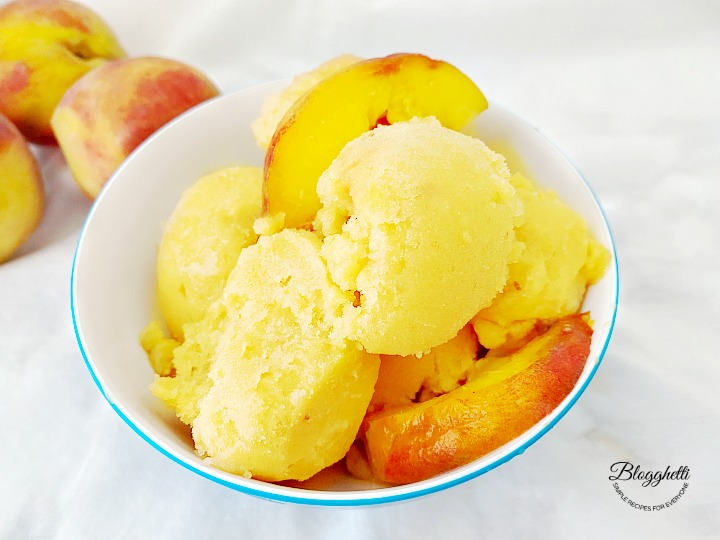 Fresh Peach Sorbet close up
