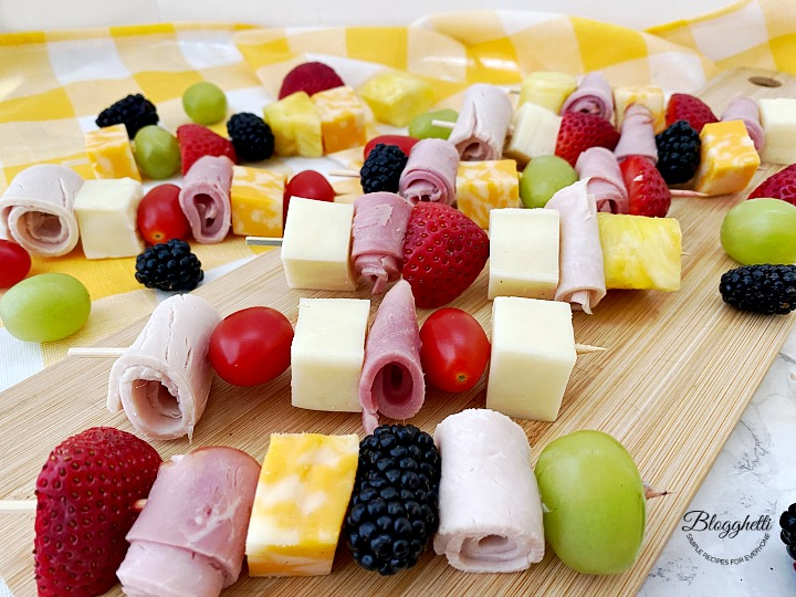 Cheese and Meat with Fruit Lunch Kabobs