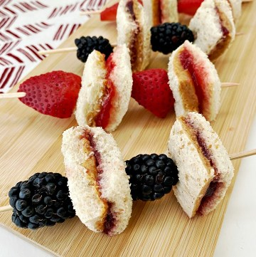 Peanut Butter and Jelly sandwich skewers