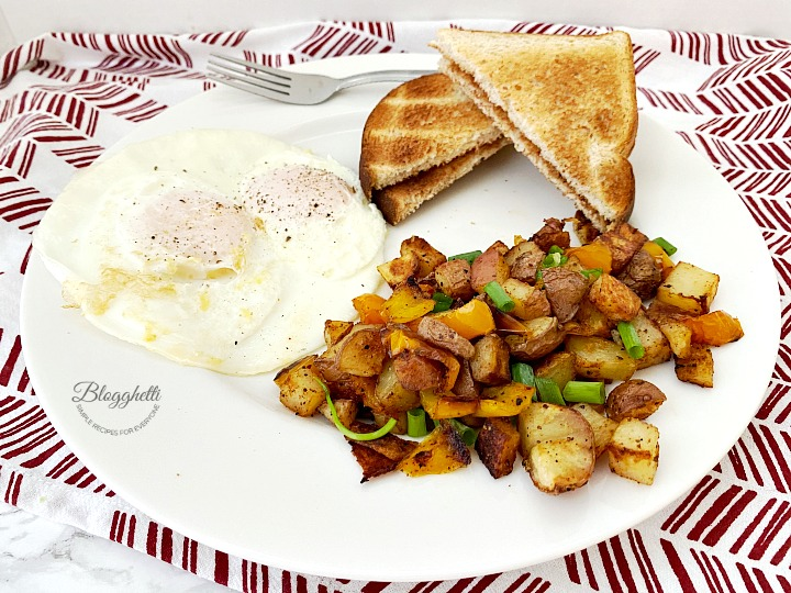 eggs with oven roasted breakfast potatoes