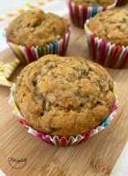 sugar free banana muffins - closeup