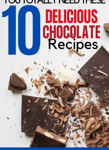 10 delicious and easy chocolate recipes round up with text overlay