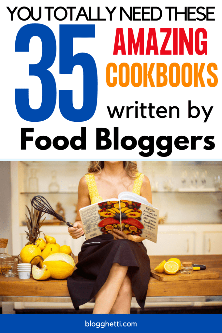 35 foodblogger cookbooks with text overlay