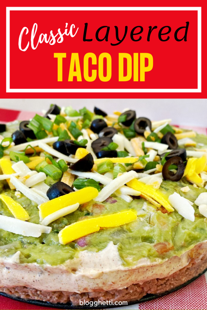 Classic Layered Taco Dip with text overlay