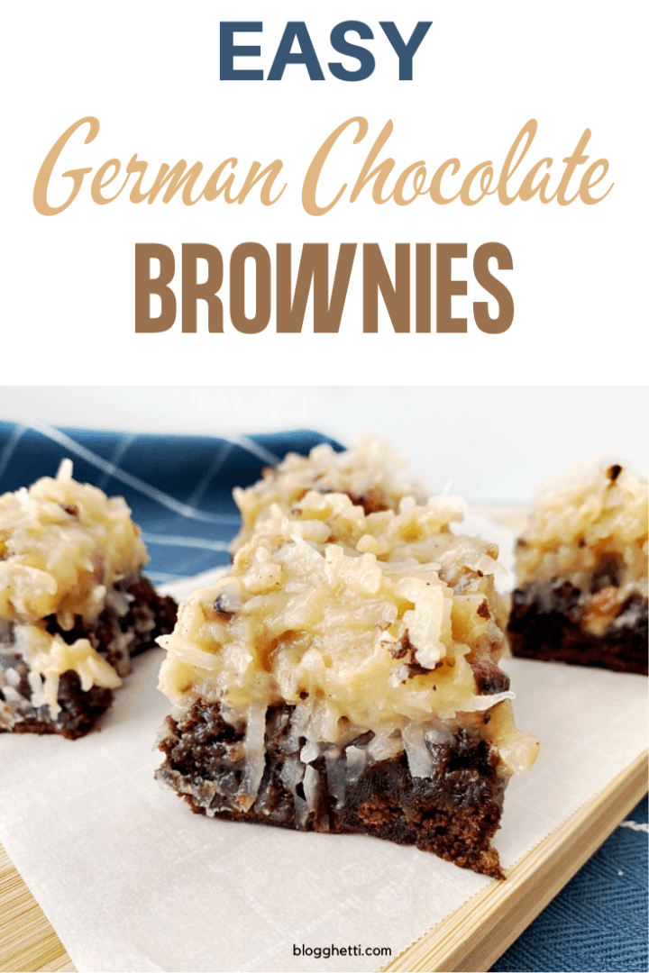 Easy German Chocolate Brownies with text overlay