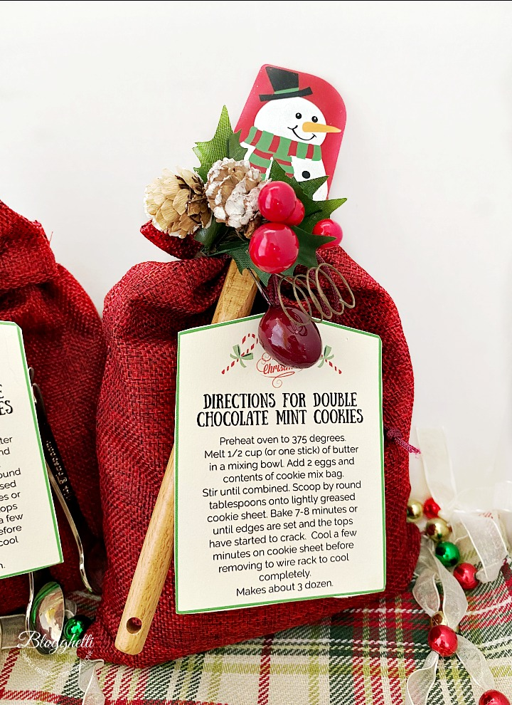 close up of cookie mix gift sack