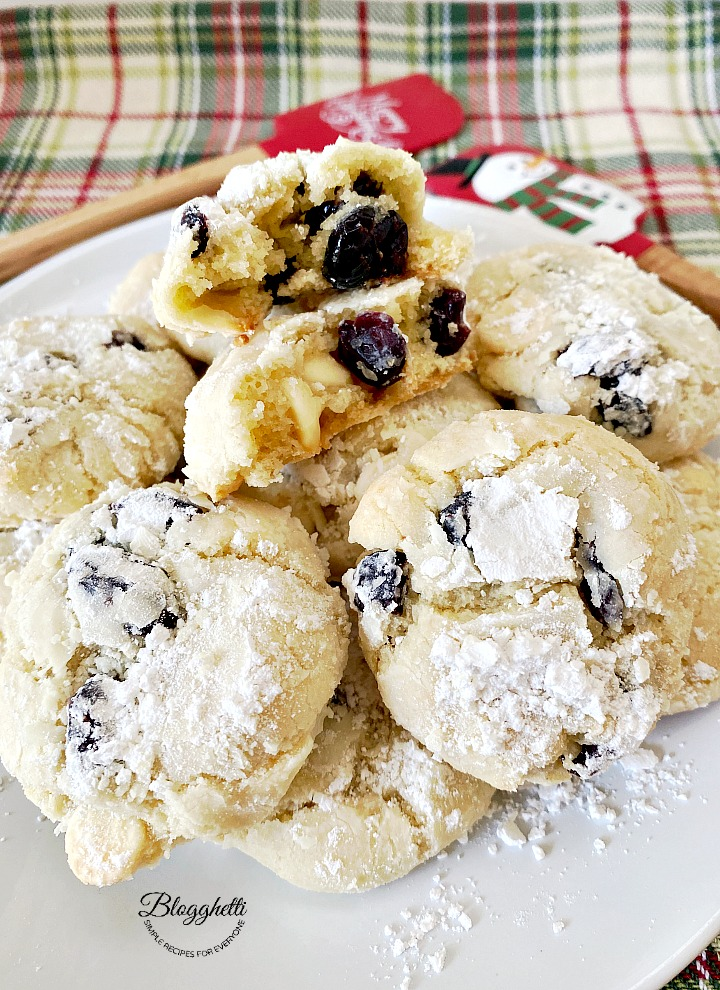 Plate of white chocolate cranberry crinkle cookies