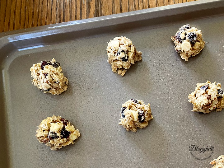 oatmeal cookie dough on cookie sheet